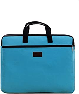 Durable Book A4 Document Bag File Folder Holder Bag with Handle Zip Closure Short Business Travel Man Handbag Red Black (Color : Sky Blue)