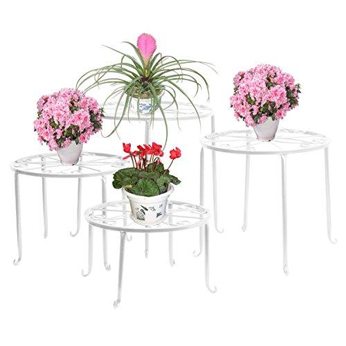 FullBerg Blumenständer Metall Weiß Tisch Blumenregal Balkon Blumenbank Blumenleiter Dekoratives Pflanzentreppe für Innen Wohzimmer Indoor Outdoor Garten Deko Pflanzenregal