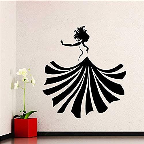 Zbzmm muursticker van vinyl voor meisjes, baljurk, modieus, beauty-shop, wanddecoratie, woonkamer, kleding en slaapkamer, decoratie, 42 x 68 cm
