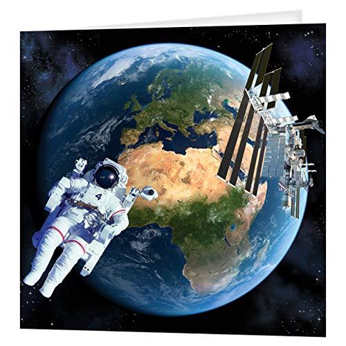 Gruß-Karte 3D LiveLife - Erde vom Raum, bunte Karte Astronauten-Lenticular 3D von Deluxebase, während irgendeiner Gelegenheit und Alters. Originalvorlage genehmigt vom bekannten Künstler, David Penfou