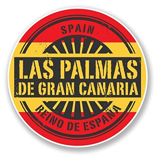 2 pegatinas de vinilo de Las Palmas Gran Canaria de 15 cm y 150 mm para ordenador portátil, equipaje de viaje, coche, bicicleta, cartel divertido #6733