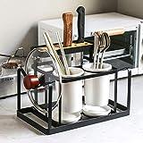 JINCH Utensilienhalter Besteck-Abtropfbehälter Besteckständer Küchenutensilien Halter für die Arbeitsfläche,runder Besteckhalter aus Metall,Küchen Aufbewahrung