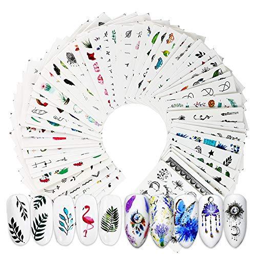 VINFUTUR 69 Blatt Nagelsticker Blumen Wassertransfer, Nagelaufkleber Selbstklebend Nail Art Stickers Nageltattoos Nageldesign Sticker Nagel Decals DIY Nagelkunst Abziehbilder