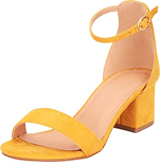 Women's Single Band Buckled Ankle Strap Chunky Block Mid Heel Sandal