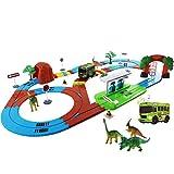 deAO Parque de Dinosaurios Circuito de Coche Eléctrico Mundo Jurásico Conjunto Incluye Pista con Sensores, Vehículo, Dinosaurios y Accesorios
