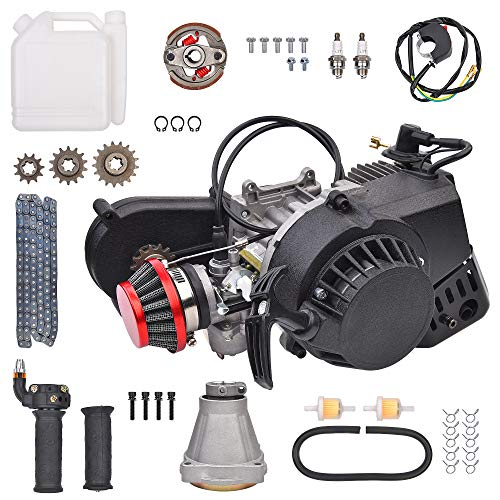 47cc 49cc 2 Stroke Pull Start Engine Motor W/Gear Box Assembly Replacement for Pocket Mini Pit Dirt Bike ATV Quad Scooter 14T T8F Chain 40mm Bore