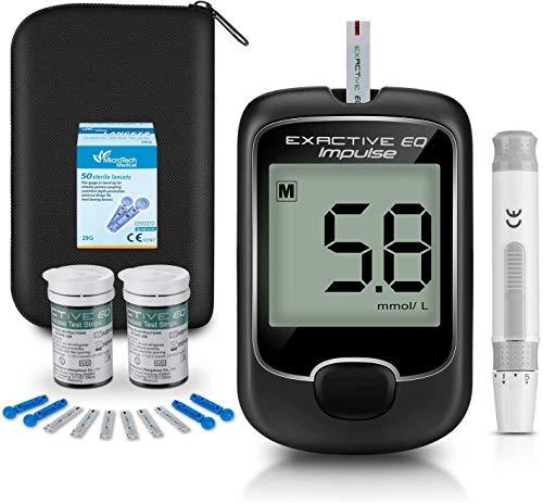 Blodgluksmätare, diabetes testkit [2021 uppgradering] Blodsockertestare med 50 kodfria testremsor och 50 Lancets - mg/dL av Exactive EQ Impulse …
