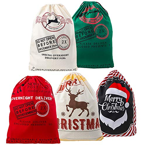 Terunpu 5 Packs of Christmas Canvas Bags, Holiday Drawstring Bags for Christmas Party Favors Extra Large Size 27.5x19.5 Inches