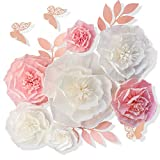 13 Pieces 3D Paper Flowers Pink White with Trees 10' 8' 6' 4' Craft DIY Large Wall Decorations Pom Pom Giant Backdrop Photo Booth Baby Shower Decor Centerpiece Wedding Birthday Party Craft Art