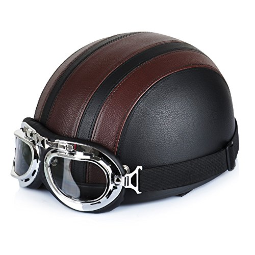 Xiaokesong Sport Helm Halbhelm Kunst Leder 54-60cm schwarz Retro