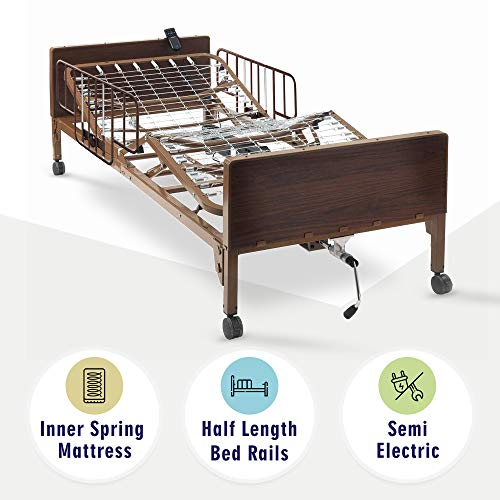 Semi Electric Hospital Bed with innerspring Mattress and Half Rails Included - for Home Care Use and Medical Facilities - Fully Adjustable, Easy Transport Casters, Remote - 80