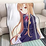 KaiWenLi Sword Art Online -Yuuki Asuna Wears School Uniform/Cartoon Anime Blanket/Single-Sided Pattern/Best Heating Bedding/Soft and Comfortable/Easy to Clean/Suitable for Adults, Children