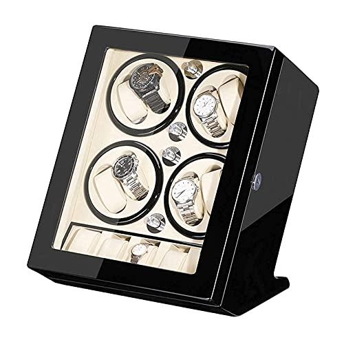 ZHBH Caja de joyería para mujer, caja automática para 8 relojes + 5 almacenamiento silencioso motor madera Shell piano pintura exterior gran capacidad clásico/blanco