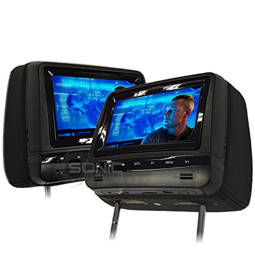 Sonic Audio HR-7A Universal Leather-Style Car DVD/Multimedia Headrest Screens/Monitors with USB/SD and Games - Includes 2 x Wireless Headphones - Black Colour