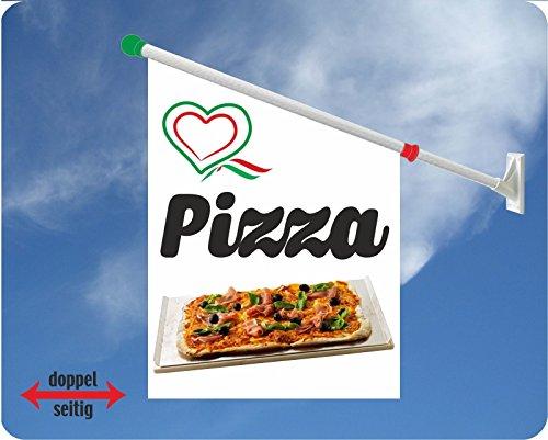 Werbeflagge (Fahne mit über 50 Varianten, Text und Bild, z.B. Eis, Döner, Kaffee, Crepes, Waffeln, Pommes uvm.) Ideal für Kiosk, Restaurant oder Kirmes, weiß (Pizza Herz)