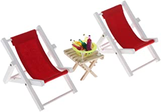 Toygogo 1/6 Scale Wooden Beach Deck Chair Table Drinks Set for Dollhouse Living Room or Fairy Garden Decor, 12inch Dolls Accessories - Red