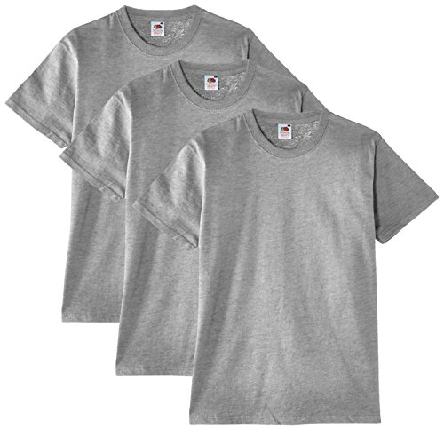 Fruit of the Loom Herren T-Shirt, 3er Pack, Gr. Large, Grau - Erika-Grau