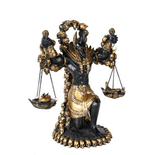 Pacific Giftware Ancient Egyptian God Anubis of Underworld by Ankh Altar Guardian of Scales The Heart Against Ostrich Feather Figurine Statue