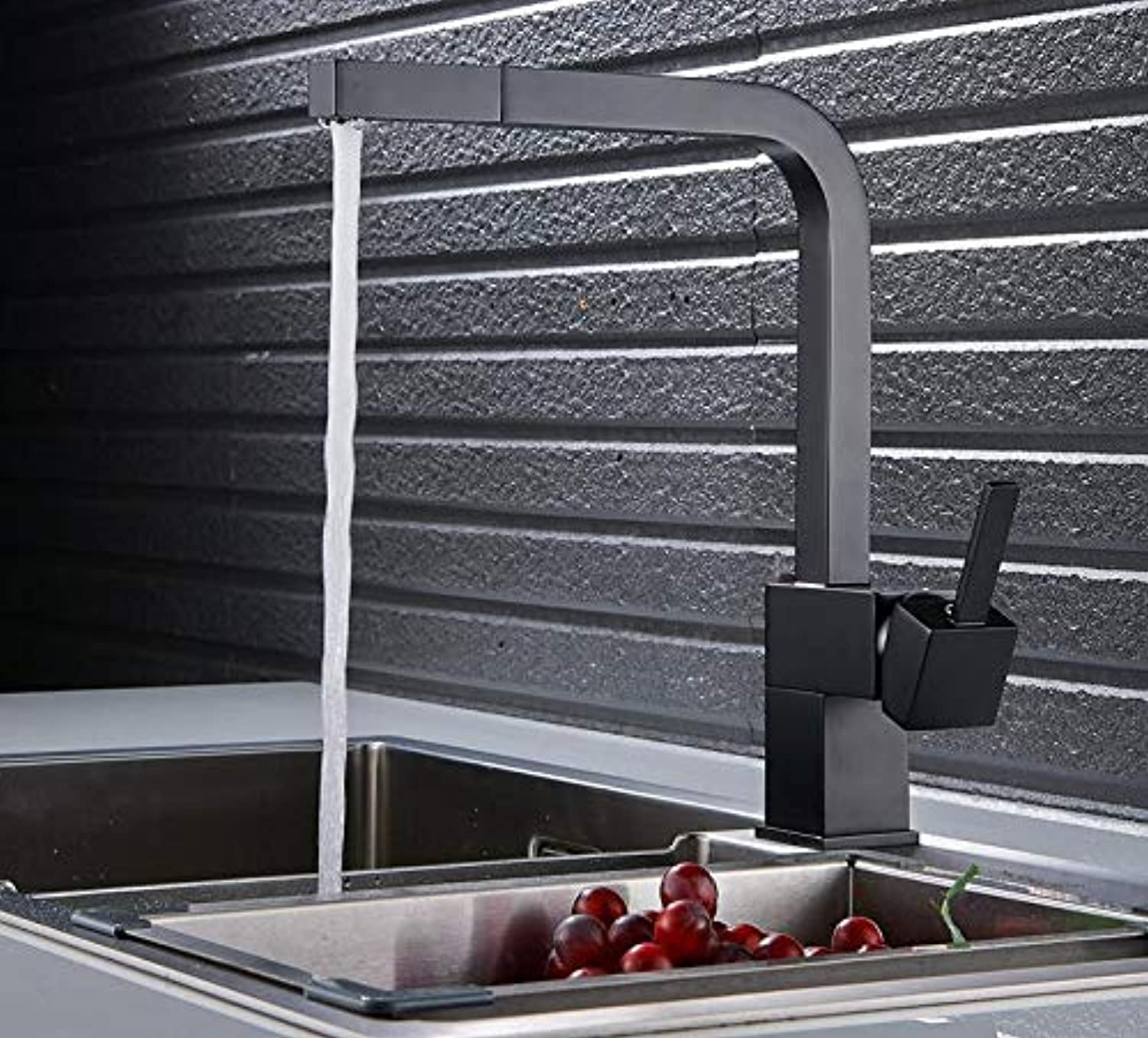 Mkkwp Black Paint Pull Out Kitchen Faucet Square Brass Kitchen Mixer Sink Faucet Mixer Kitchen Faucets Pull Out Kitchen Tap