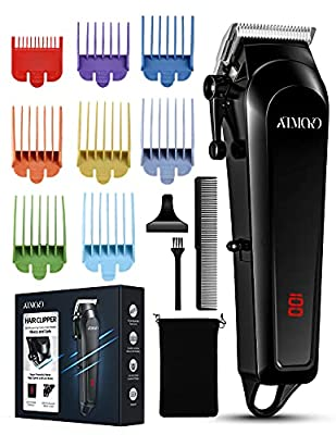 Hair Clippers for Men Professional Cordless Trimmer, ATMOKO 8 Colour Combs(0.5-25mm) Beard Clipper, Electric Grooming Barber Trimmer with LED USB