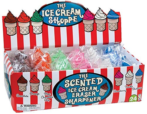 Raymond Geddes Ice Cream Shoppe Scented Eraser with Pencil Sharpener, 24 Pack (68662) (Renewed)