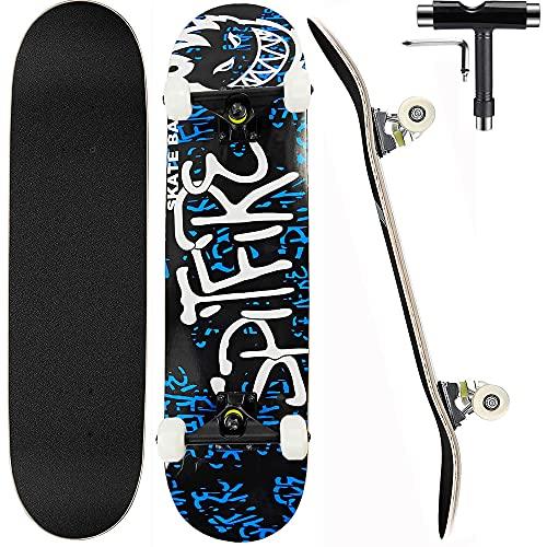 Deecam Completo Skateboard para Principiantes, Niños, Adultos, Adolescentes, 7 Capas de Arce...