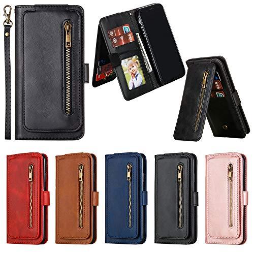 Capa carteira Mi A3, [9 compartimentos para cartões] Capa de couro PU com fecho magnético e zíper para Xiaomi Mi A3 - Preta