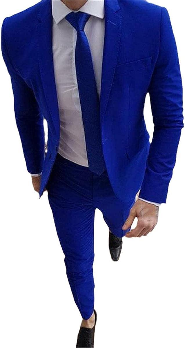 Royal Blue Ball Suit Groom Tuxedo Latest Coat Pants Men's Wedding Suit Jacket + Pants + tie