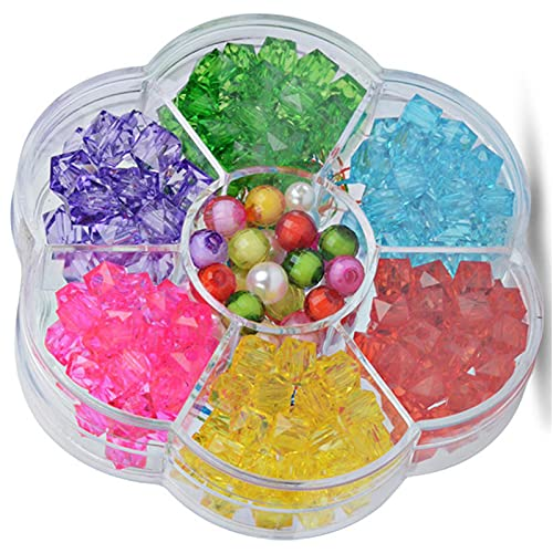 JSSEVN 1 Box Making Round for Black Craft Beads Jewellery Kit Loose Acrylic Plastic Colourful Beads