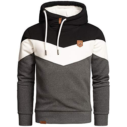 Amaci&Sons Herren Basic Kapuzenpullover Sweatjacke Pullover Hoodie Sweatshirt 4052 Schwarz/Weiß/Anthrazit L