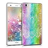 kwmobile Funda Compatible con Huawei P8 Lite (2015) - Carcasa de TPU Sol Azteca en Multicolor/Rosa Fucsia/Transparente