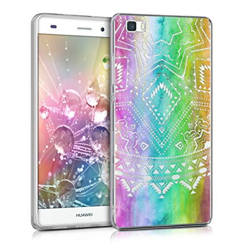 kwmobile Cover Compatibile con Huawei P8 Lite (2015) - Back Case Custodia Posteriore in Silicone TPU per Smartphone - Backcover Sole Azteco Multicolore/Fucsia/Trasparente