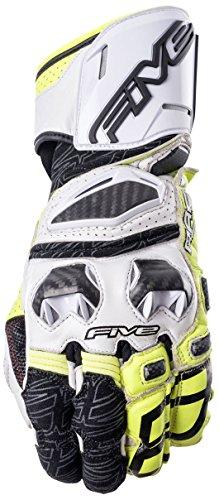 Five Advanced Gloves Guantes RFX Race para Adultos, Blanco/Amarillo FLO, Talla 12