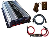 VertaMax Pure SINE Wave 1500 Watt (3000W Surge) 12V Power Inverter DC to AC Power (Cables + Remote Control Switch + ANL Fuse) - Solar, RV