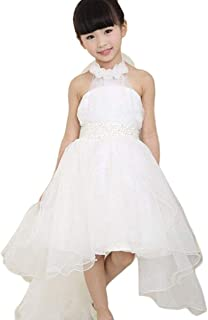 Kehen Flower Girl Dress, Kid Toddler Tulle White Lace Hi-Low Dress Wedding Birthday Pageant Ball Gown