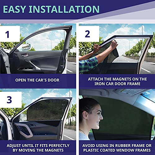 EcoNour Car Window Shades for Side Windows (4 Pack)   Front and Rear Magnetic Window Screen   Baby Window Shade for Car   Suitable for Car Camping   Makes Your Car Privacy and Cooler