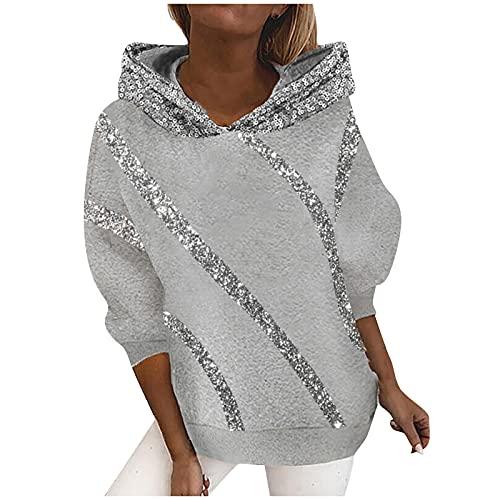 Bestyyo Suéter con capucha suelta con costura de lentejuelas para mujer Q91041, gris, XXL