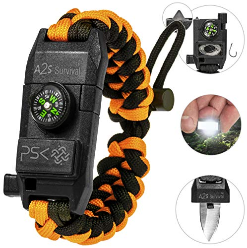 PSK Paracord Bracelet 8-in-1 Personal Survival Kit Urban & Outdoors Survival Knife, Fire Starter, Glass Breaker, Survival Whistle, Signal Mirror, Fishing Hook & String, Compass (Orange)