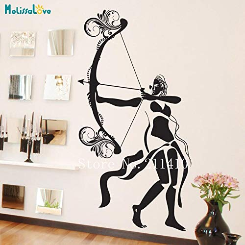 ASFGA Alternative Wandtattoo Frau Shooting Room Pfeil und Bogen Club Aufkleber Home Decoration Wohnzimmer Schlafzimmer Mythos Shooting Superheld Vinyl Art Wandbild 56x103cm