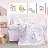 Little Grape Land 4 Piece Crib Bedding Set for Girls Nursery Bedding Sets for Baby Newborn Jersey Knit Cherry Blossom Quilted Blanket, Crib Sheet, Crib Skirt, Baby Pillowcase