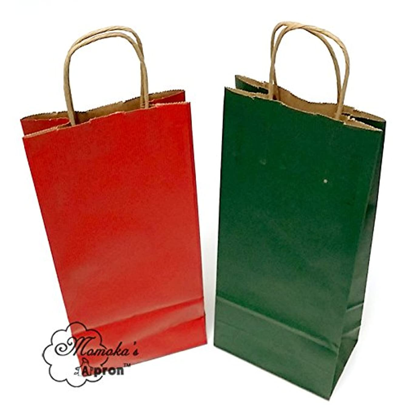 Momoka's Apron 50 ct Wine Paper Gift Bags Made in USA (25 Christmas Red and 25 Forest Green)