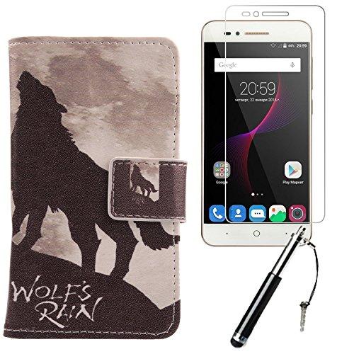 Lankashi 3in1 Set Wolf Howl PU Flip Leder Tasche Für ZTE V6 Max/Blade A610 / Blade A612 5