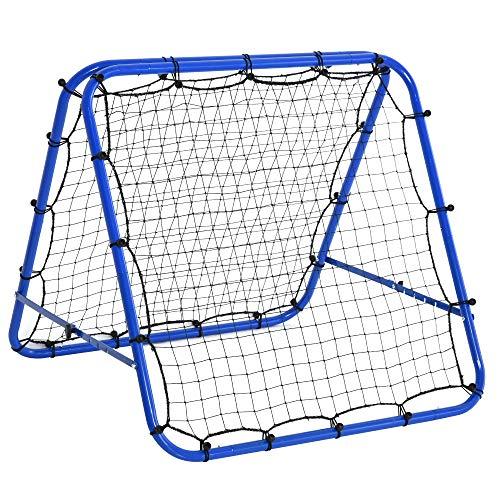 HOMCOM Red de Rebote Plegable para Entrenamiento Rebotador de Deportes Ajustable de 5 Niveles en Ángulo con Tubo de Acero para Fútbol Tenis Béisbol 100x95x90 cm Azul