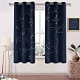 Bathroom Window Curtains W 72 x L 45 inches Living Room Curtains,Adjustable Tie Up Shade Rod Pocket Curtain,Sky Map Andromeda Lacerta Cygnus Lyra Hercules Draco Bootes Lynx Dark Blue Yellow White