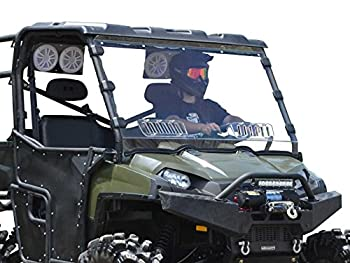 SuperATV Heavy Duty Scratch Resistant Vented Full Windshield for 2010-2016 Polaris Ranger XP 800/800 Crew / 800 6X6   1/4  Thick Polycarbonate 250X Stronger Than Glass   Easy Install   USA Made!