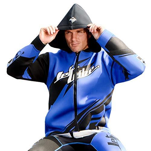 Jettribe Neoprene Jet Ski Tour Coat Sharpened Series | Hooded Oversized Winter Watersport Jacket (Blue