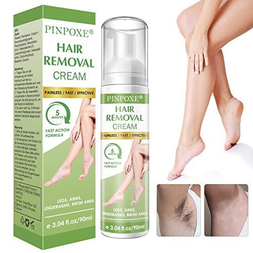 Enthaarungscreme, Haarentfernungscreme, Hair Removal Cream, Enthaarungsmittel Schmerzlose für Bikini/Unterarm/Brust/Rücken/Beine/Arm und Privater Bereich, 90ml