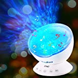 Ocean Wave Projector, Ohuhu Upgraded 12 LED 7 Colors Changing Remote Control Night Light with Built-in Music Player, Undersea Projector Lamp for Kids Adults Bedroom Living Room Decoration