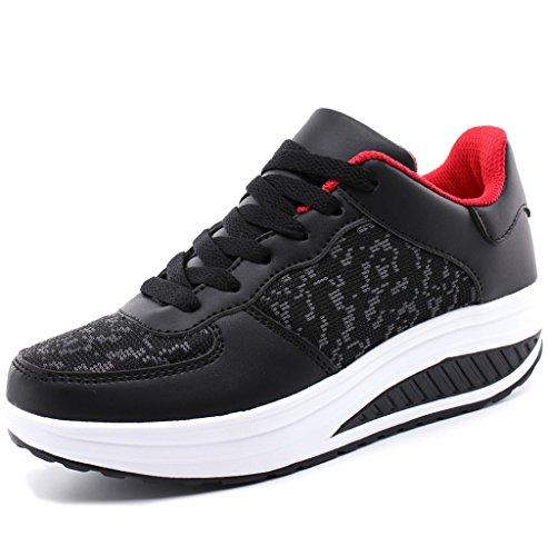 Solshine Damen Mädchen Plateau mit Keilabsatz Walkmaxx Schuhe Runners Turnschuhe Fitnessschuhe