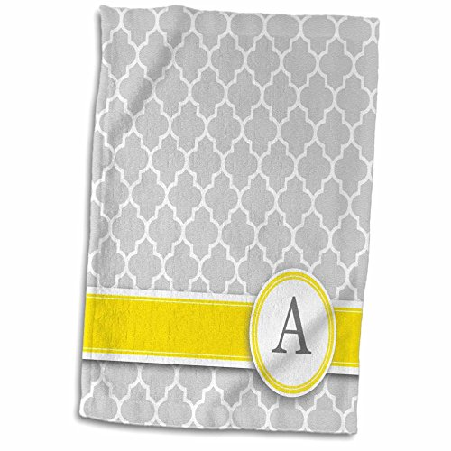 3dRose handdoek met initialen, letter A-monogram, grijs, vierfoliepatroon, personaliseerbaar, geel, grijs, 38,1 x 55,9 cm